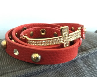 Leather cross strap