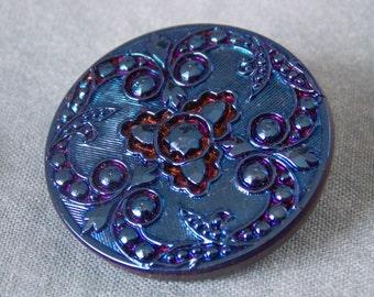 Czech Glass Button Iris Dark Blue Glass Button  B208