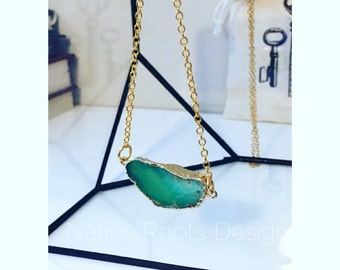 Chrysoprase pendant gold plated on gold chain