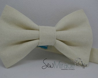 Linen bow tie - Cream bowtie - handmade - baby bow tie - child bow tie - mens bow tie - wedding - birthday - gift for him
