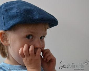 Newsboy hat, Children Flat cap, Toddler newsboy hat, Baby newsboy cap, Denim flat cap, Matching bow tie, Handmade hat, Hat for a child