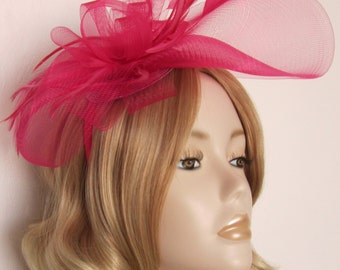 RASPBERRY PINK FASCINATOR, Made of crin, feathers, all mounted on a matching headband