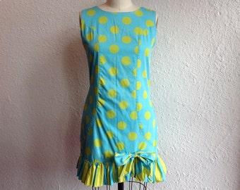 1960s ruffled polka dot mini dress