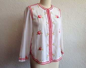 1970s embroidered chinese blouse