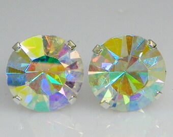 3mm - 8mm Crystal AB Rainbow Sterling Silver Earrings Made with Swarovski Crystals (gift box included)