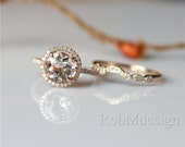 14K Rose Gold 2PCS Morganite Engagement Ring Set VS 8mm Round Cut Morganite Ring&Art Deco Curved Half Eternity Diamond Match Band Bridal Set