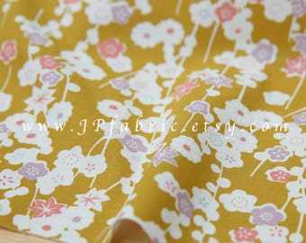 Cherry Blossom. Japanese fabric. Yellow floral fabric. Tissu japonais. Yellow fabric. Flowers fabric