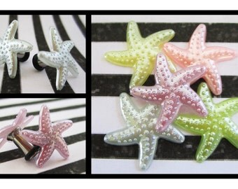 Pale Starfish on a Stainless Steel Tunnel diamond EAR PLUGS earrings pick gauge size color 8g, 6g, 4g, 2g aka 3, 4mm, 5mm, 6mm