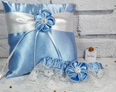 Blue garter Bridal garter Lace garter Blue ring cushion Bridal accessory set Ring bearer pillow Wedding ring pillow Ring holder
