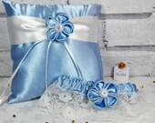 Blue garter Bridal garter Lace garter Blue ring cushion Bridal accessory set Ring bearer pillow Wedding ring pillow Ring holder