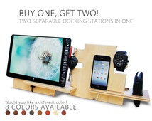 40% OFF SALE Double Docking station,gift him,charging station,iphone dock,iphone stand,cell phone stand,desck organizer,android docking stat