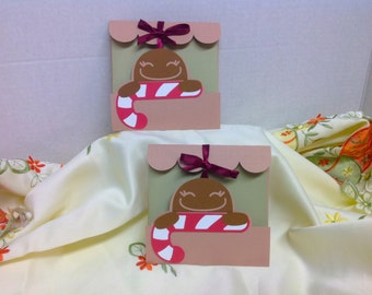 Gingerbread Man with Candy Cane , ribbon, Christmas , Holiday , Card , Men, Women , kids