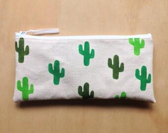 Cactus canvas pencil case / pouch