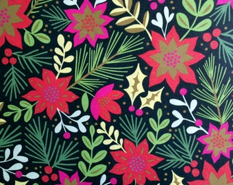 Holiday Floral Wrapping Paper, 1 Roll. Holiday gift wrap, Christmas wrapping paper, Poinsettia, Pine Needles, Holly