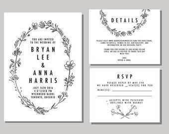 Printable and Customizable DIY Wedding Invitation Suite - Botanical / Modern / B&W / Ink / Wreath Calligraphy
