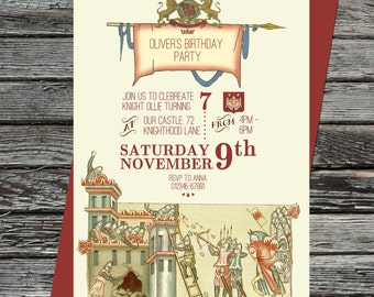 Vintage Knights Party Invitation, Printable