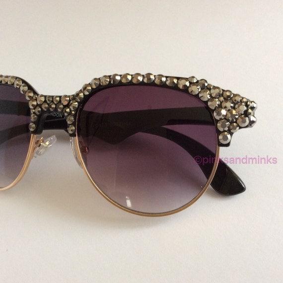 695f5d0c77 Glitz   Glam Embellished Sunglasses Glasses Bling Glam Rihanna leaves  Warsaw gig in seriously glittery ...