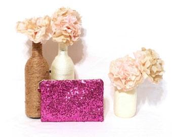 Hot Pink Sequin Clutch - Custom Bridesmaid Clutch - Bridesmaid Makeup Bag - Bridal Wedding Sequin Clutch - Customized Sequin Clutch Purse