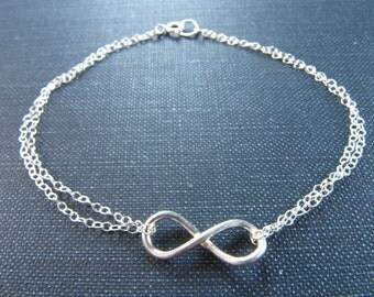 Sterling Silver, Infinity Anklet, Silver Anklet, Beach Anklet, Bridal Gift, Anklet jewelry