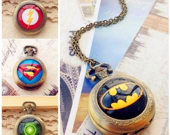 Pocket Watch, Batman Pocket Watch, The flash pocket watch, Superman pocket watch, Green Lantern pocket watch, Superhero pocet watch for men