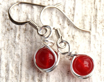 Red Dangly Earrings, Small Red Earrings, Valentines Gift, Casual Jewelry, Gift for Her, Dangle Earrings, Casual Earrings, Red Jade Earrings