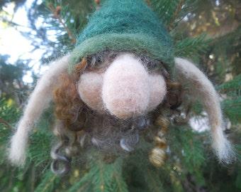Needle Felted Troll, Troll Ornament, Christmas Decoration, Norse Mythology OOAK Wool Ornament, Scandinavian Decor, Woodland Troll