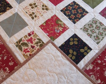 Homemade Floral Throw Quilt