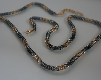 Chain Maille Necklace Half Persian 4 in 1 Weave Gun Metal, Sterling, Gold