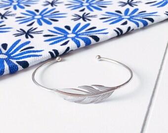 Leaf Silver 925/000 - silver Bangle Bracelet sterling bangle