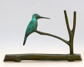 Kingfisher Menorah Hand Made in Israel by Shraga Landesman' Judaica, Hanukkah, Patinated Brass