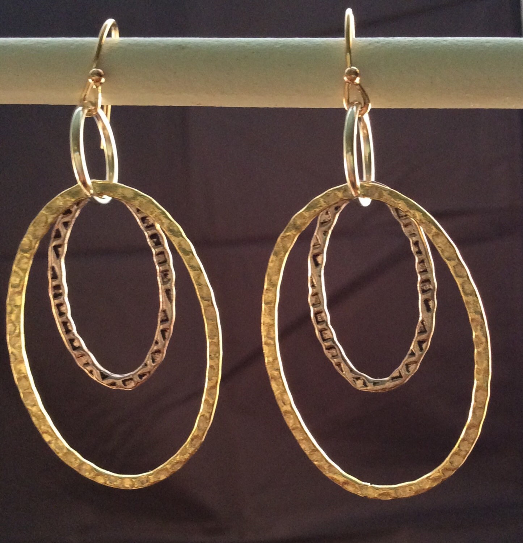 oval pewter gold filled double hoop earrings. Black Bedroom Furniture Sets. Home Design Ideas