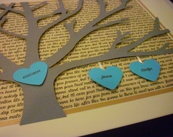 Anniversary Gifts for Parents, Personalized 11X14 Unframed 3D Paper Tree Wedding Gift, Anniversary, Wedding Song Lyrics