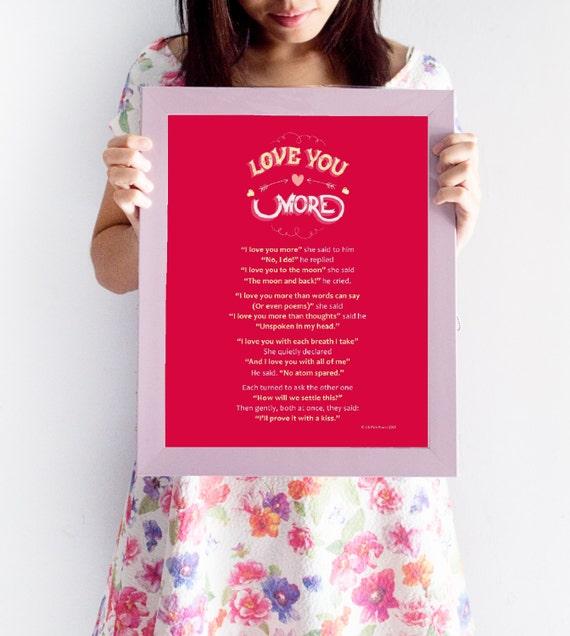 I Love You More Poem: Framed Romantic Poem: 'I Love You More' Perfect