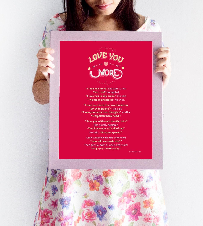 I Love You More Poem: Framed Romantic Poem: 'I Love You More' Framed A