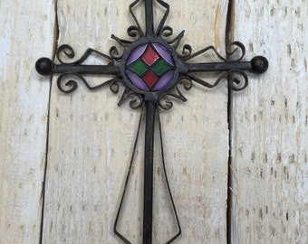 Small Metal Cross, Hand Cross, Stained Glass Cross, Metal Cross Wall Art, Cross Decor, Cross Wall Decor, Cross Wall Hanging