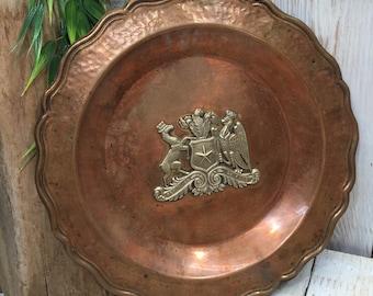 Copper wall plate - Republica de Chile, Chilean art, Hechoamano - Santiago Chile, Copper Plate, Chile art, Chilean Decor, Chilean wall decor