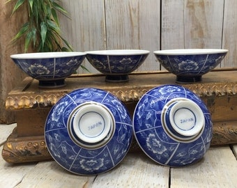 5 Japanese rice bowls, Noodle Bowls, rice bowl set, chinese rice bow, china rice bowl, asian rice bowl, asian noodle bowl set, Blue White