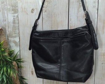 SAS leather Purse, Black Leather Bag, Leather Shoulder Bag, Black Leather Purse, Leather Hobo Purse, SAS Bag, Black Shoulder Bag