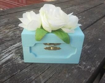 Baby Blue Keepsake Box w/Roses