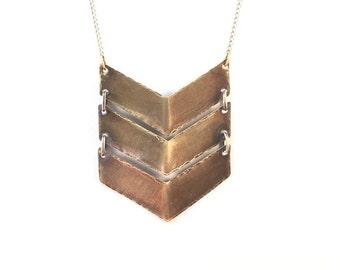 Gracie Small Triple V Chevron Pendant Necklace