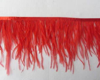 10Yards Red Ostrich  Feather Trimming Fringe