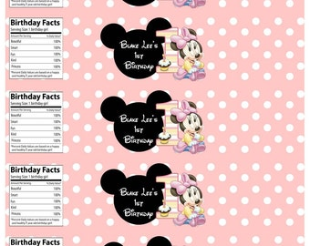 Minnie Mouse 1st Birthday Water Bottle Labels Printable Digital File