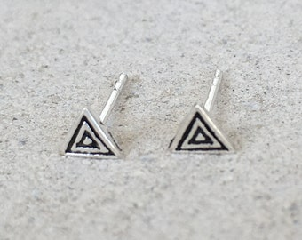Antique Silver Triangle Earring Studs.