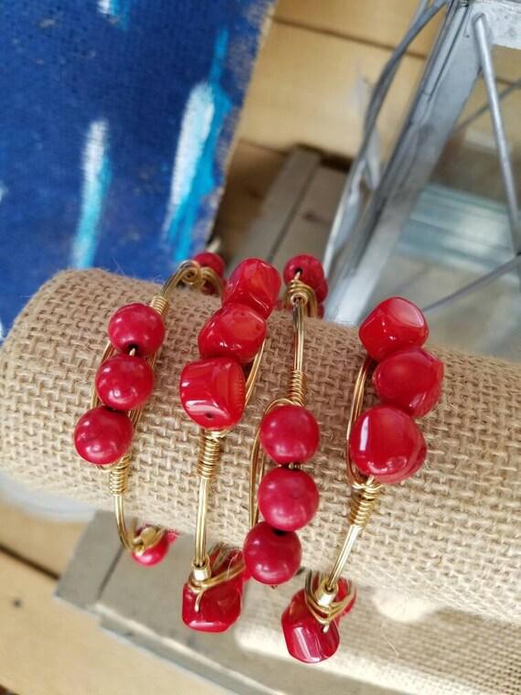 Red Howlite, Red Coral, Red Gemstone Bangles, Gemstone Bangles