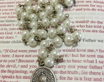 Chaplet of the Blessed Sacrament, White glass pearl beads, Oval Blessed Sacrament medal, silver plated wire (7)