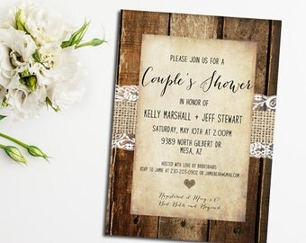 Couple's Shower Invitation, Rustic Invitation Burlap and Lace, Digital File, Printable_122