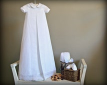 GAEL Line.(Embroidered).Nb to 18M.Baby Unisex Gown.Design your OWN outfit.Linen&lace.Naming day.Baptism.Christening gown.Dedication.Blessing