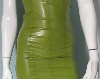 latex fitted pencil dress