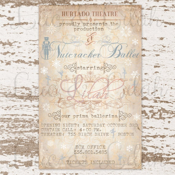 Nutcracker Ballet Party Invitation