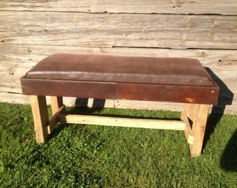 Rustic Metal Cushioned Bench